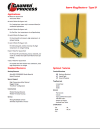 Gaumer Process Screw Plug Heater Catalog